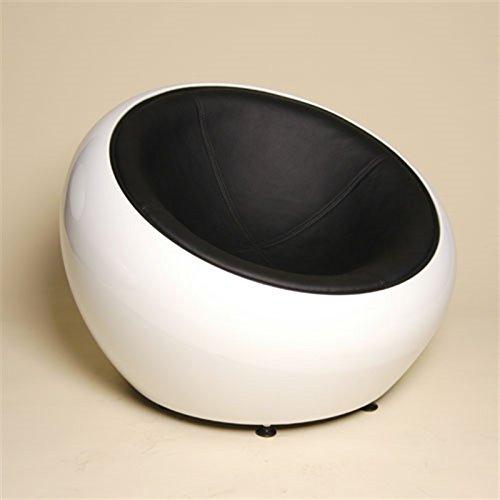 RIESIGER DESIGN LOUNGE BALL SCHALEN SESSEL von XTRADEFACTORY retro möbel stuhl C12 weiß-schwarz