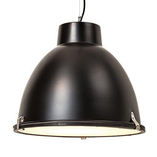 Retro Pendelleuchte Tibal im Industrie Design, 1x E27 max. 60W, Ø 42 cm, H 195 cm, Metall / Glas, schwarz