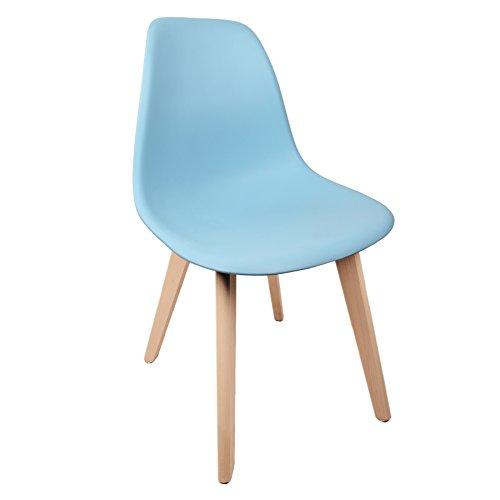 Schalenstuhl Copenhagen mit Holzbeinen Schalensessel Stuhl Kuststoff Blau Designerstuhl
