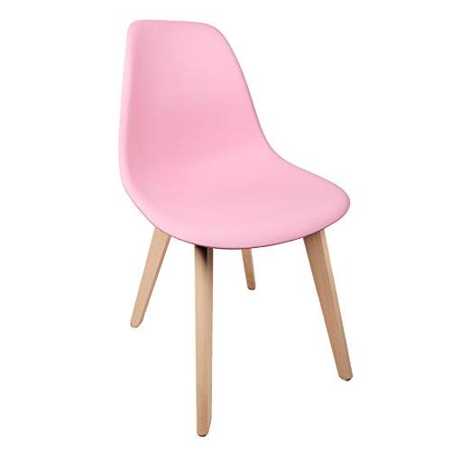 Schalenstuhl Copenhagen mit Holzbeinen Schalensessel Stuhl Kuststoff Rosa Pink Designerstuhl