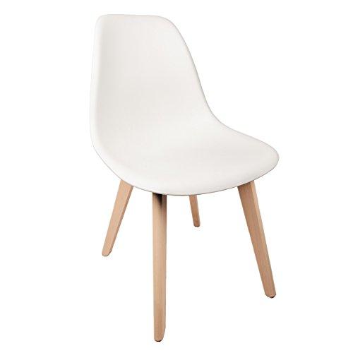 Schalenstuhl Copenhagen mit Holzbeinen Schalensessel Stuhl Kuststoff Weiß Designerstuhl