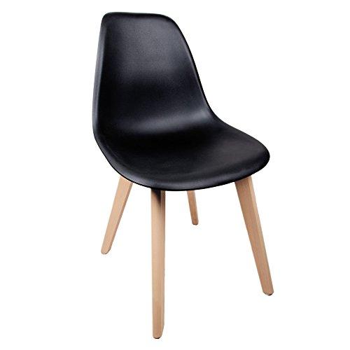Schalenstuhl mit Holzbeinen Schalensessel Design Designerstuhl Schwarz Holz Designstuhl