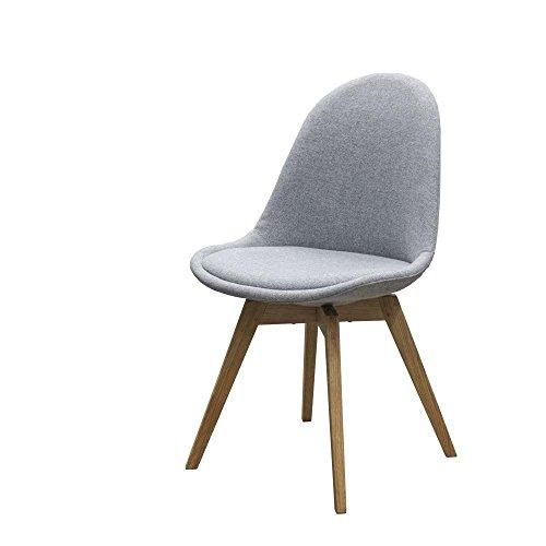 Stuhl Donna (2er Set) Tenzo grau Eiche Braun Holz & Textil Massivholz geölt