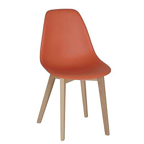 Stuhl aus Massivholz Buche/Kunststoff Orange - Modell Baxter