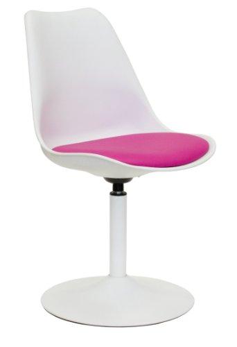 Tenzo 3303-408 TEQUILA - Designer Esszimmerstuhl Viva, Kunststoffschale mit Sitzkissen in Lederoptik, Untergestell Metall, pulverbeschichtet, 83 x 49 x 53 cm, weiß / rosa