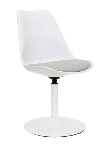 Tenzo 3303-412 TEQUILA - Designer Esszimmerstuhl Viva, Kunststoffschale mit Sitzkissen in Lederoptik, Untergestell Metall, pulverbeschichtet, 83 x 49 x 53 cm, weiß / grau