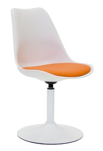 Tenzo 3303-417 TEQUILA - Designer Esszimmerstuhl Viva, Kunststoffschale mit Sitzkissen in Lederoptik, Untergestell Metall, pulverbeschichtet, 83 x 49 x 53 cm, weiß / orange