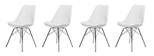 Tenzo 3336-491 Tequila 4er-Set Designer Stühle Porgy Plastik weiß / chrom, 54 x 48,5 x 82,5 cm