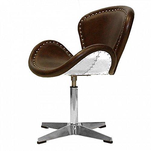 Vintage Echtleder Sessel Retro Ledersessel Design Drehsessel Lounge Clubsessel Möbel NEU 437