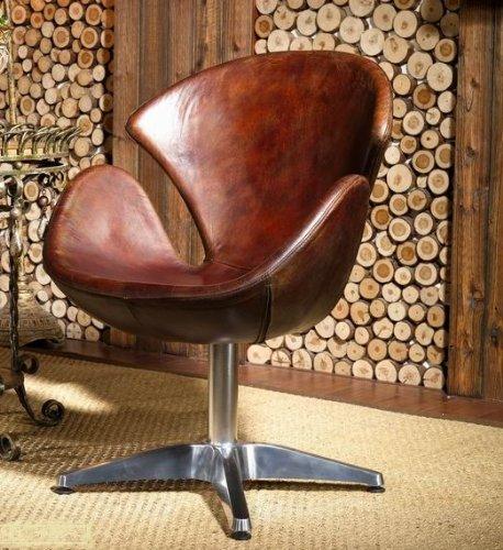 Vintage Echtleder Sessel Retro Ledersessel Drehsessel Loft Sessel Lounge Clubsessel Möbel Drehsessel 435