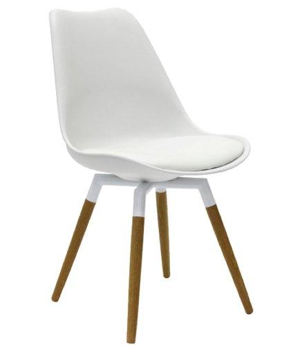 designbotschaft: Olbia Retro Style - Stuhl Weiß/ Eiche - Esszimmerstühle 1 Stck