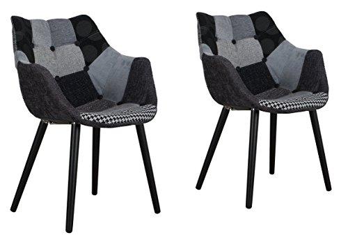 zuiver twelve patchwork chair 2er-set, schalenstuhl, gestell buche massiv, retro look Patchwork-knopfpolsterung grau