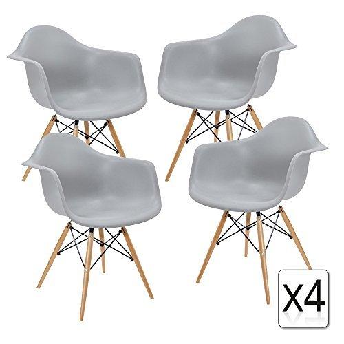 VERKAUF! 4 x Design-Stuhl Eiffel Stil Natural Wood Beine und Sitz Farbe Light grau Mobistyl® DAWL-LG-4