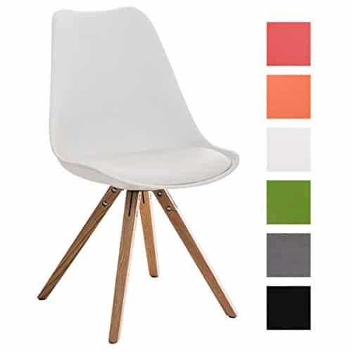 CLP Design Retro Stuhl PEGLEG SQUARE mit Holzgestell natura, Materialmix Kunststoff, Kunstleder, Holz weiß