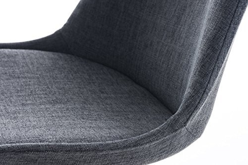 CLP Design Retro Stuhl BORNEO Stoffbezug, Holzgestell, gepolstert dunkelgrau, Holzgestell Farbe weiß