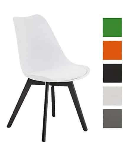 CLP Design Retro Stuhl BORNEO, Holzgestell, Sitz Kunststoff / Kunstleder, gepolstert weiß, Holzgestell Farbe schwarz