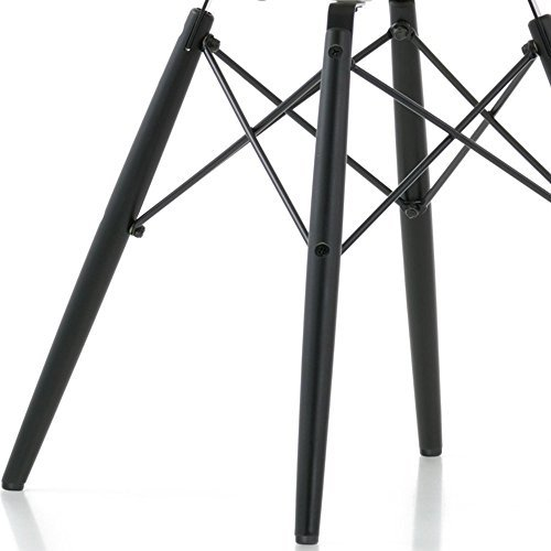 VERKAUF! 1 x Design-Stuhl Eiffel Stil Schwarz Holz Beine und Sitz Farbe Weiß Mobistyl® DAWB-WH-1