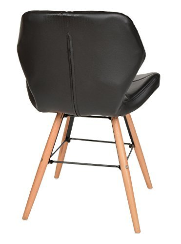 ts-ideen 1x Design Büro Stuhl Esszimmer Büro Sitz Polster Kunstleder Schwarz Holz 79 x 49 cm