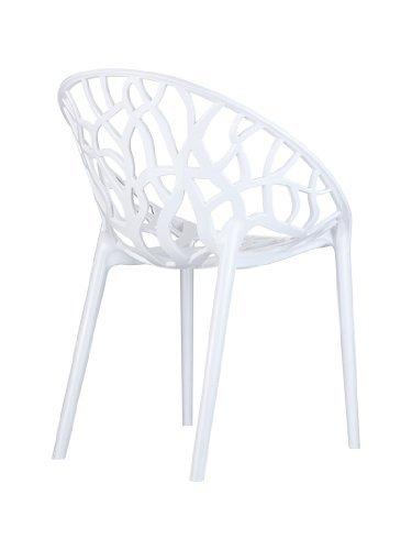 CLP Design Gartenstuhl, Bistrostuhl, Stapelstuhl CRYSTAL, belastbar bis 160 kg, stapelbar, wasserabweisend, UV-beständig weiß glanz