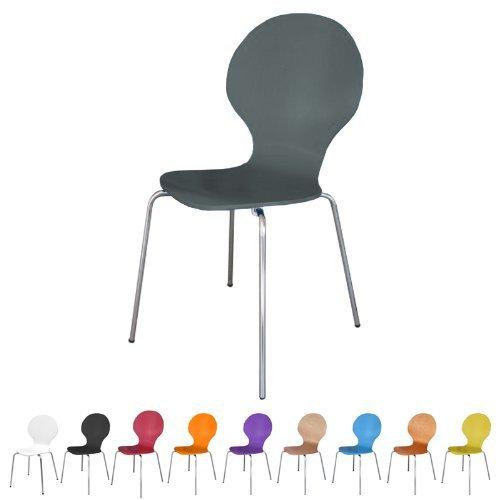 Stuhl stapelbar Design Klassiker Metall Holz - sehr belastbar - Grau