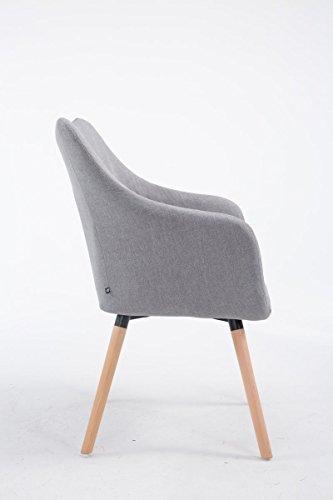 CLP Design Besucher-Stuhl MCCOY V2 mit Armlehne, Stoff-Bezug, Holz-Gestell, Sitzfläche gepolstert grau, Gestellfarbe: natura