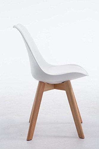 CLP Design Retro Stuhl BORNEO V2, Holz-Gestell, Materialmix aus Kunststoff, Kunstleder weiß, Gestellfarbe: natura