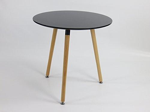 Inspiration Retro Tisch MDF rund 70 cm Durchmesser in Schwarz