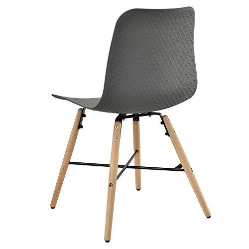 [en.casa] Designstuhl im 6er-Set - 80 x 44,5cm - grau - Esszimmerstuhl Kunststoff Retro