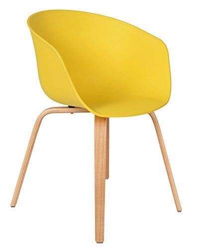 ts-ideen 1x Design Stuhl Wohnzimmer Esstisch Küchen-Tisch Esszimmer Sitz in Gelb