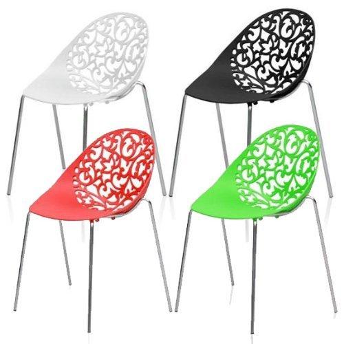 MOJO Design Stuhl Gartenstuhl Stahl Gestell in weiss S05