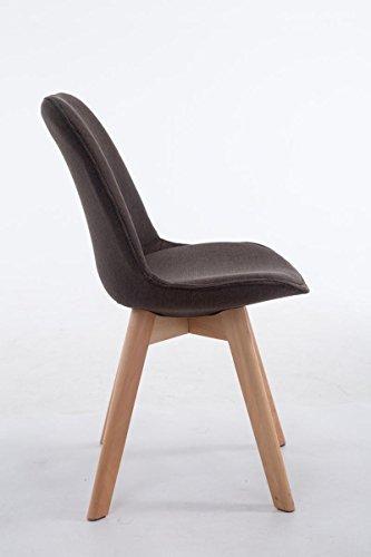 CLP Design Retro Stuhl BORNEO V2, Holz-Gestell, Stoff-Bezug dunkelgrau, Gestellfarbe: natura