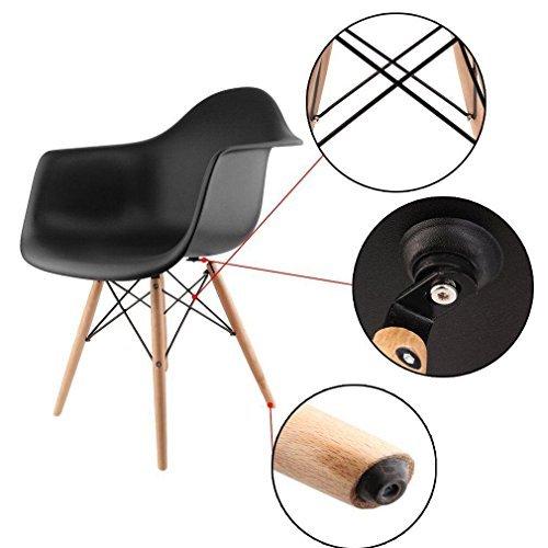 Lot von 2 Esszimmerstuhl, Ajie Retro Stuhl Beistelltisch mit solide Buchenholz Bein - Schwarz