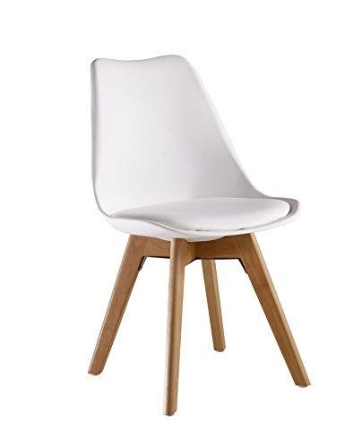P & N Homewares® Lorenzo Tulip Stuhl Kunststoff Retro Stühle weiß schwarz grau rot gelb pink grün blau weiß