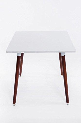 CLP Ess-Tisch BENTE, quadratisch 80 x 80 cm, Höhe 75 cm, 4 Holz-Beine mit Bodenschoner Tischplatte: weiß / Gestell: cappuccino