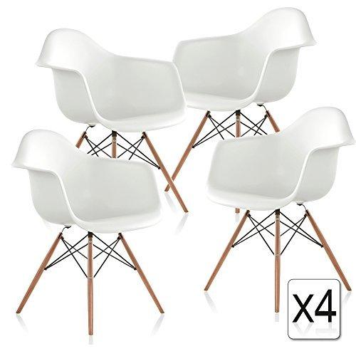 VERKAUF! 4 x Design-Stuhl Eiffel Stil Natural Wood Beine und Sitz Farbe Weiß Mobistyl® DAWL-WH-4