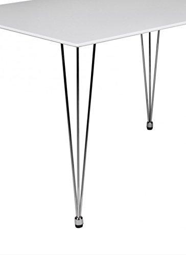 Design Esstisch OSLO 120 x 80 x 76 cm Form Rechteckig Skandinavischer Retro Look | Matt Lackierter Küchentisch mit Chromgestell | Esszimmer Möbel Tisch Ideal für 4 Personen | Farbe: Weiß