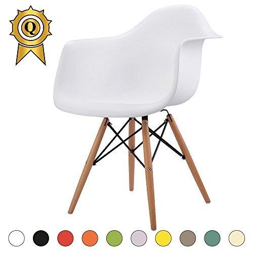 VERKAUF! 1 x Design-Stuhl Eiffel Stil Natural Wood Beine und Sitz Farbe Weiß Mobistyl® DAWL-WH-1