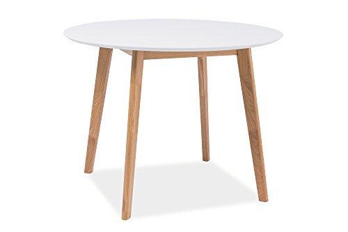 Esstisch Esszimmertisch Holztisch Echtholztisch MILO II in Weiß Eiche Natur 100 cm Durchmesser Rund Skandinavisches Design