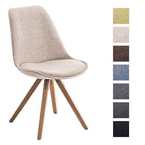 CLP Design Retro Stuhl PEGLEG SQUARE, Holzgestell natura, Stoffsitz, Schalenstuhl creme