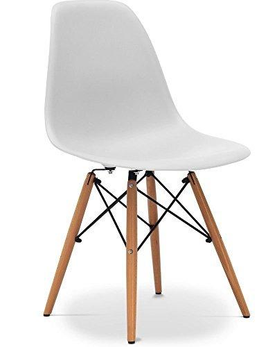 Due-home (Nordik)4Stühle Tower weiß, Stuhl aus Buchenholz, Nachbildung des Eames-Tower-Stuhls, Maße 47cm breit x 56cm tief x 81cm hoch