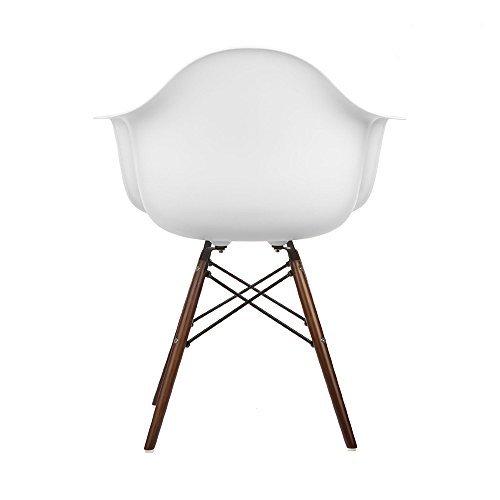 VERKAUF! 2 x Design-Stuhl Eiffel Stil Walnussholz Beine und Sitz Farbe Weiß Mobistyl® DAWD-WH-2