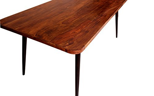 Ess-Tisch natur aus Sheesham-Holz mit Metallbeinen recht-eckig 180x90x76 cm | Nub | Vierfuß-Tisch Beine antik-schwarz im Retro-Stil für Ihr Esszimmer 180cm x 90cm x 76cm