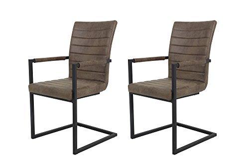 2 Armlehnstühle, Schwingstuhl, Esszimmerstuhl, Küchenstuhl, Stuhl, Polsterstuhl, Set, Essstuhl, braun, Microfaserstoff, vintage, Metall, anthrazit