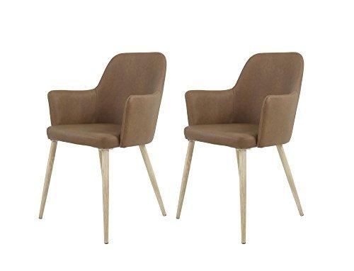 2 Esszimmerstühle, 2er Set, Stühle, Schalenstuhl, Sitzgelegenheiten, Esszimmer, Essbereich, Kunstleder, braun, Metall, Eiche Sonoma Sägerau