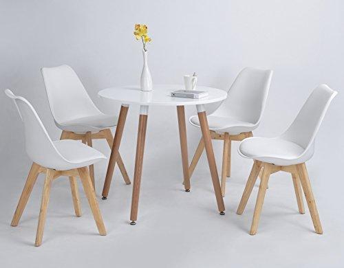 4er Set Esszimmerstühle mit Massivholz Buche Bein, Retro Design Gepolsterter lStuhl Küchenstuhl Holz, Weiß