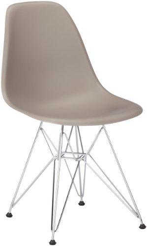 Vitra 440022000125 Stuhl DSR Eames Plastic Sidechair Gestell Verchromt, mauve-grau