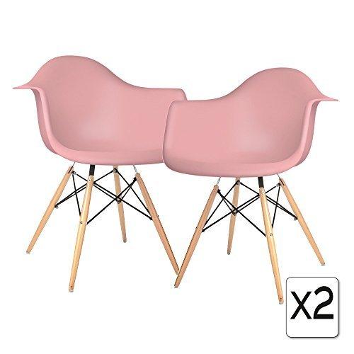 VERKAUF! 2 x Design-Stuhl Eiffel Stil Natural Wood Beine und Sitz Farbe Rosa Mobistyl® DAWL-PI-2