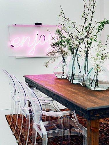 Damiware Spirit 2er set Design Stuhl mit Armlehnen transparent - wohnzimmerstuhl esszimmerstuhl hochwertige Verarbeitung, komfortables Sitzen, Für Außen und Innen geeignet. (Transparent) (2 Stühle, Transparent)