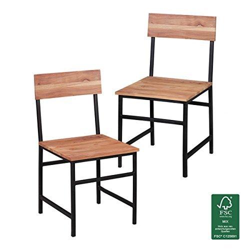 2er Set Esszimmerstühle Holz Massiv Akazie | Landhausstil Stuhlgruppe Echtholz | 2x Esszimmerstuhl 4 Metallbeine | Küchenstühle Natur - Esszimmer Stühle Massivholz