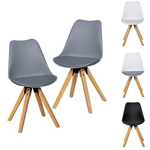 2er Set Retro Esszimmerstühle ohne Armlehne | Sitzfläche Kunstleder | Küchenstuhl mit Lehne aus Kunststoff & 4 Holz Beinen | Skandinavisches Design Essstuhl - gepolstert Schalensitz